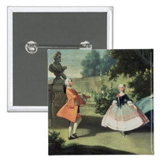Un jardín ornamental con una chica joven que baila pin cuadrada 5 cm