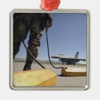 Un jefe de equipo de la fuerza aérea de los adorno navideño cuadrado de metal