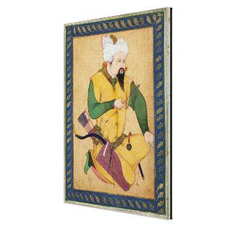 Un jefe del Turkoman o del Mongol que sostiene una Impresion En Lona