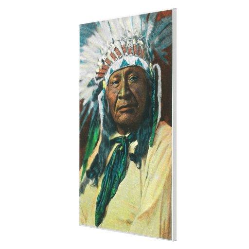 Un jefe indio PortraitColorado del Arapahoe Impresión En Lienzo