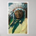 Un jefe indio PortraitColorado del Arapahoe Póster