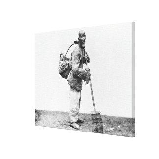 Un jornalero chino, c.1870 (foto de b/w) lona envuelta para galerías