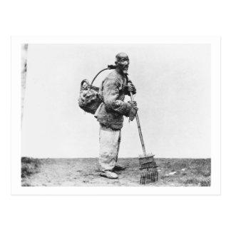 Un jornalero chino, c.1870 (foto de b/w) postal