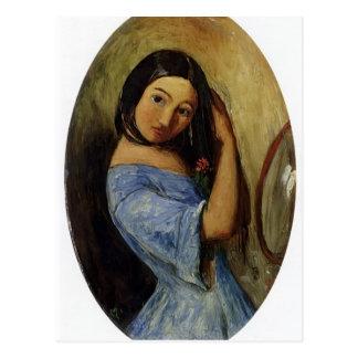 Un joven Chica-Que se peina el pelo de Juan Millai Tarjeta Postal