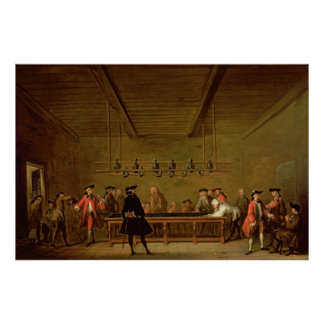 Un juego de los billares, c.1720-26 póster