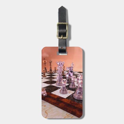 Un juego del ajedrez etiquetas de equipaje
