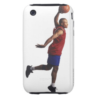 un jugador de básquet joven del varón adulto vuela tough iPhone 3 protectores
