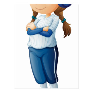 Un jugador de béisbol de sexo femenino que lleva postal