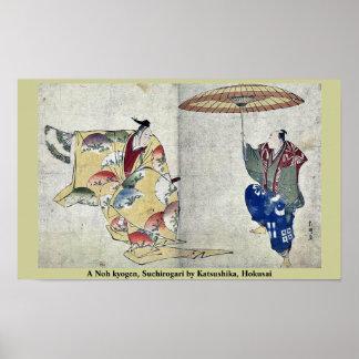 Un kyogen de Noh, Suehirogari por Katsushika, Hoku Póster
