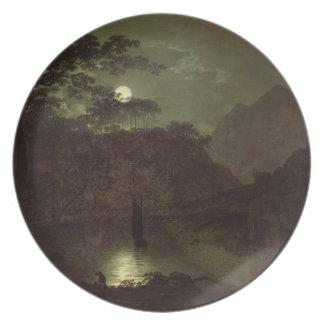 Un lago por el claro de luna, c.1780-82 (aceite en platos para fiestas