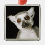 Un lemur. adorno navideño cuadrado de metal