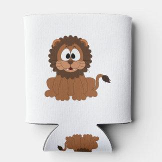 Un león dibujado sonriente marrón del dibujo enfriador de latas