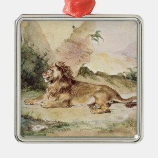 Un león en el desierto, 1834 adorno navideño cuadrado de metal
