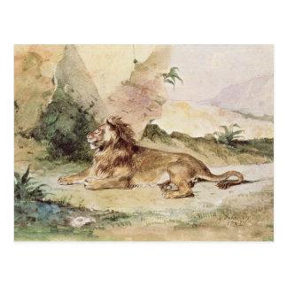 Un león en el desierto, 1834 postal