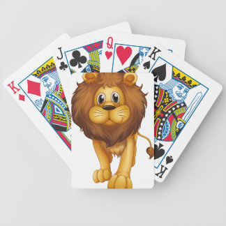 Un león grande baraja cartas de poker
