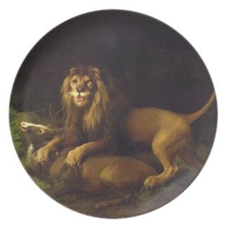 Un león que ataca un macho, c.1765 (aceite en lona plato de comida