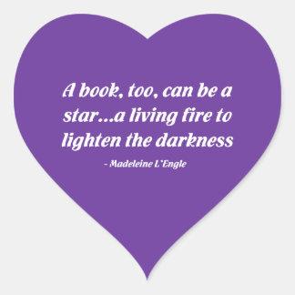 Un libro, también, puede ser una estrella pegatinas de corazon