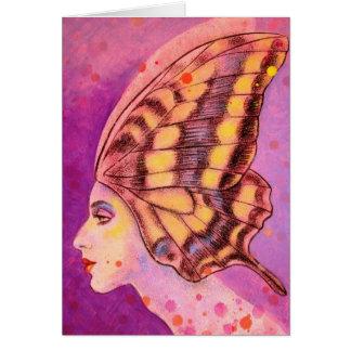 Un listo para volar el sombrero de la mariposa tarjeta de felicitación