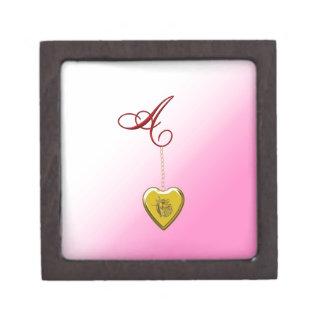 Un Locket de oro del corazón Caja De Regalo De Calidad