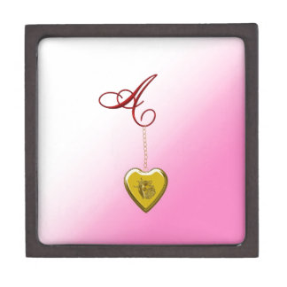 Un Locket de oro del corazón Cajas De Regalo De Calidad