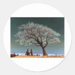 Un lugar espiritual - árbol espiritual pegatina redonda