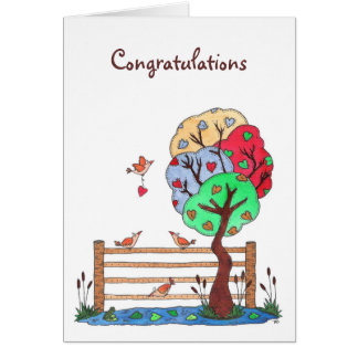 Un lugar para colgar su corazón, enhorabuena tarjeta de felicitación