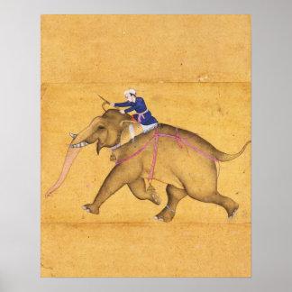Un Mahout que monta un elefante, del Clive grande Posters