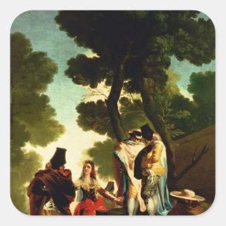 Un Maja y un Gallants, 1777 Pegatina Cuadrada