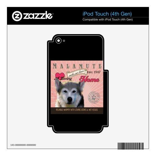 Un Malamute cariñoso hace nuestro hogar de la casa iPod Touch 4G Skin