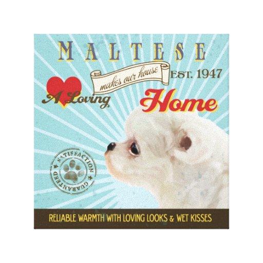 Un maltés cariñoso hace nuestro hogar de la casa impresión de lienzo