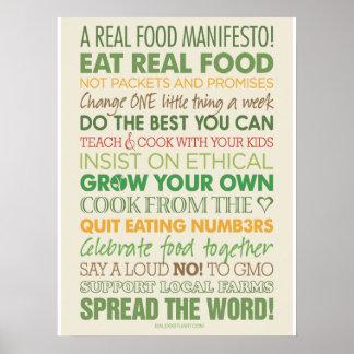 Un manifiesto real de la comida póster