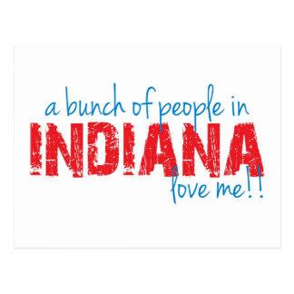 ¡Un manojo de gente en Indiana me ama!! Postal
