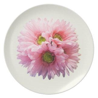 Un manojo de margaritas rosadas platos de comidas