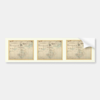 Un mapa auténtico de 1690 piratas etiqueta de parachoque