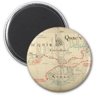 Un mapa auténtico de 1690 piratas (con adornos) imán redondo 5 cm