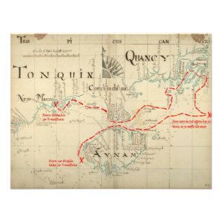 Un mapa auténtico de 1690 piratas con adornos comunicado personal