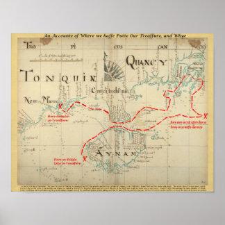 Un mapa auténtico de 1690 piratas (con adornos) poster
