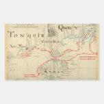 Un mapa auténtico de 1690 piratas (con adornos) pegatina rectangular