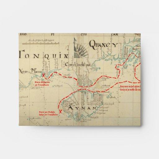 Un mapa auténtico de 1690 piratas (con adornos) sobres