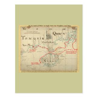 Un mapa auténtico de 1690 piratas (con adornos) tarjeta postal