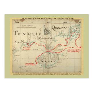 Un mapa auténtico de 1690 piratas (con adornos) tarjetas postales