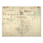 Un mapa auténtico de 1690 piratas invitación 10,8 x 13,9 cm