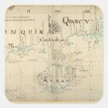 Un mapa auténtico de 1690 piratas pegatina cuadradas