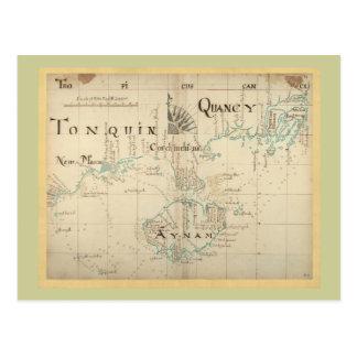 Un mapa auténtico de 1690 piratas tarjeta postal
