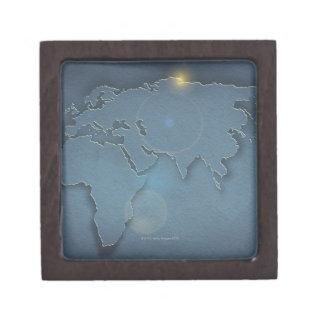 Un mapa azul simple que muestra tres continentes - cajas de joyas de calidad