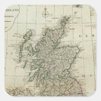 Un mapa completo de las islas británicas pegatina cuadrada