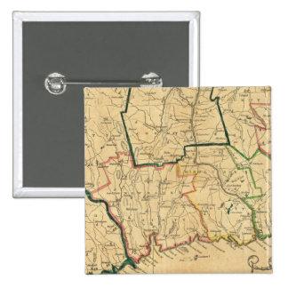 Un mapa correcto de Connecticut Pin Cuadrada 5 Cm