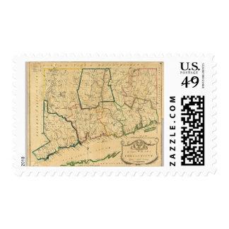 Un mapa correcto de Connecticut Timbres Postales