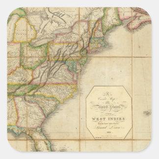 Un mapa correcto de los Estados Unidos Pegatina Cuadrada
