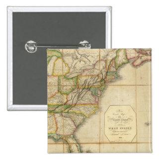 Un mapa correcto de los Estados Unidos Pin Cuadrada 5 Cm